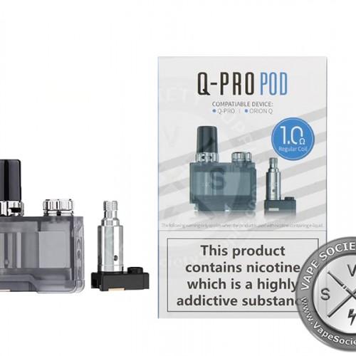 Orion Q Pro Replacement Pods by Lost Vape (Empty Pod - 1 Pcs) + (1.0 ohm coils - 2pcs)