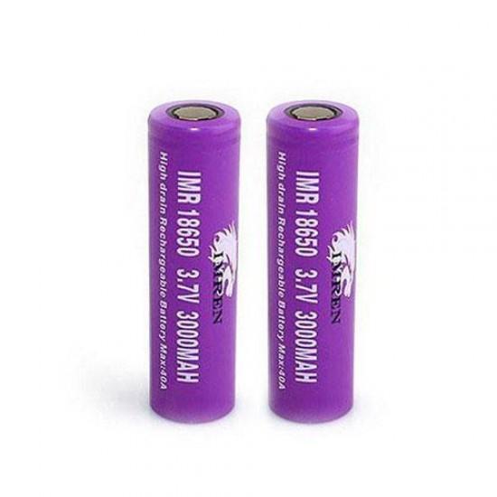 IMR 18650 3000 mAh 40A 3.7V Battery by IMREN